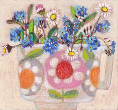 Andrea Letterie, Vergeet mij niet en margriet, Gemengde techniek op paneel, 18x14 cm, €.200,-