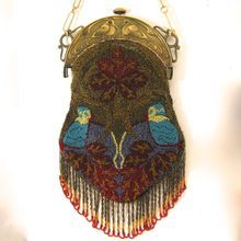 Outstanding Beaded Purse with Birds & Engraved Celluloid Frame Fabulous Fringes