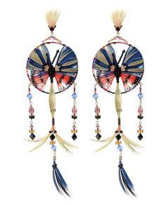 Boucles d'oreilles Attrape-Rêve de Valentino en perles et plumes