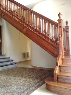 Morozov mansion oak hand carved staircase.