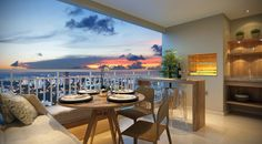 Os apartamentos de 88 m² incluem terraço gourmet com churrasqueira, integrado ao living e à cozinha.