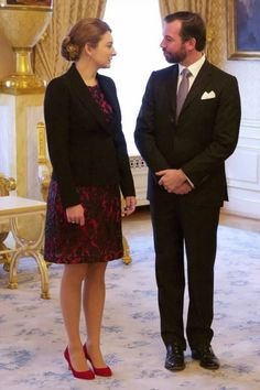 Hereditary Grand Duke Guillaume and Hereditary Grand Duchess Stephanie, Grand Ducal Family of Luxembourg held a New Year's Reception 2016