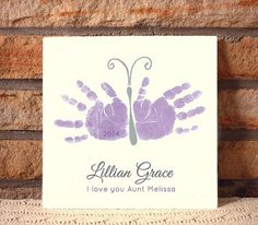 Ceramic plaque by Forever Prints. Handprint Butterfly.  Made w/ your child's actual handprints.  Mother's Day, New Baby on Etsy, $55.00