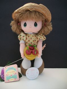 Vintage Precious Moments Doll of Month Plush Girl 16585 September Baby, Vintage Friends, Precious Moments Figurines, Vintage Home Decor, Baby Dolls, Vintage Items, Plush, Teddy Bear, In This Moment