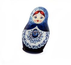 Russian Doll Blue and White Brooch by Jackdaw on Etsy