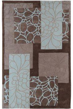 Blue & brown rug for bedroom