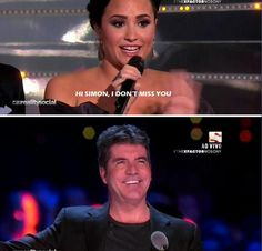 Demi lovato and simon! Demi Lovato Nick Jonas, I Dont Miss You, Barney & Friends, Lights Tour, Celebrity Memes, Shes Perfect, Simon Cowell, Good Grades, Best Friends Forever
