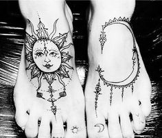 Sun and moon feet tattoos
