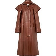 CALVIN KLEIN 205W39NYC Leather trench coat (17.565 RON) ❤ liked on Polyvore featuring outerwear, coats, leather trenchcoat, trench coat, real leather coats, brown leather coat and leather coat