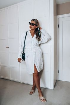 Shop Your Screenshots™ with LIKEtoKNOW.it, a shopping discovery app that allows you to instantly shop your favorite influencer pics across social media and the mobile web. Sandals Outfit, White Linen Dresses, Black Leather Crossbody Bag, See By Chloe, Daily Look, Celine, Cross Body, Wrap Dress