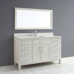 $2499 Calais 60 inch Transitional Single Sink Bathroom Vanity White Finish