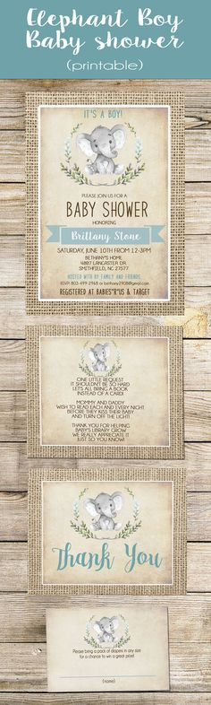 Boy Elephant Baby Shower Invitation Boy Burlap Rustic Shower Invitation, Shabby Chic, Blue
