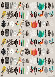 Of Botany And Birds recycled eco friendly wrapping paper designed by Inaluxe for Earth Greetings. Pattern Texture, Surface Pattern Design, Pattern Art, Pretty Patterns, Beautiful Patterns, Textures Patterns, Fabric Patterns, Illustrations, Illustration Art