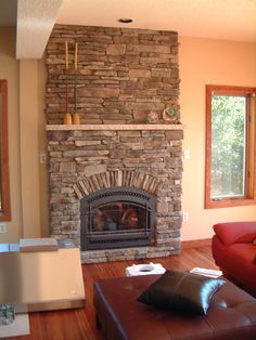 Bucks County Southern Ledgestone by Boral Cultured Stone with limestone mantel * 564 FPX DV Gas Fireplace