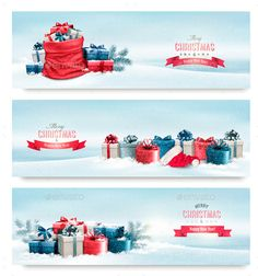 Holiday Christmas Banners With Presents — JPG Image #holiday #present • Available here → https://graphicriver.net/item/holiday-christmas-banners-with-presents/13749106?ref=pxcr