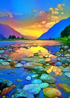 Rocks Digital Art - River Stones and Sunsets by Tara Turner Abstract Landscape, Abstract Art, Turner Artworks, Action Painting, River Stones, Sunset Art, Alcohol Ink Art, Beautiful Artwork, Beautiful Landscape Paintings