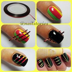 12 Amazing DIY Nail Art Designs Using Scotch Tape… If you've ever wondered how girls get perfectly geometric nail art, the execution probably involved something as simple as cut-up Scotch tape. Nail Art Diy, Easy Nail Art, Diy Nails, Sharpie Nail Art, Love Nails, How To Do Nails, Pretty Nails, Crazy Nails, Style Nails