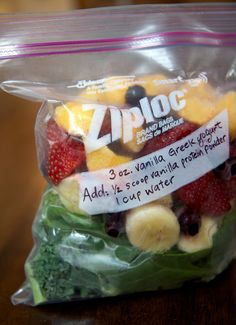 If you're really pressed for time or like to use ingredients that you can't buy frozen like pears or melon, make smoothie freezer packs. Note what liquid and extra ingredients to add on the bag, and your smoothie will be ready in minutes.