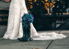 Bridal pictures. Wedding dress. Turquoise. Purple. Peacock. Cowboy boots. Old Sacramento. California.