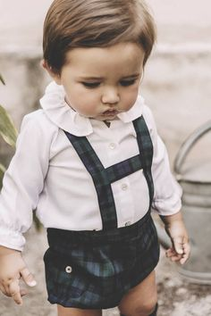 Frill collar and tartan H brace jam pants - I die ❤️ baby boy Baby Boy Clothes Hipster, Cool Kids Clothes, Cute Outfits For Kids, Cute Kids, Babies Clothes, Babies Stuff, Outfits Niños, Baby Boy Outfits, Kids Fashion Boy