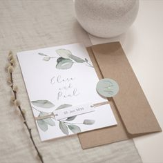Hochzeitseinladung Piana - Cotton Bird An elegant wedding invitation, delicately illustrated with eucalyptus branches. Invite your loved ones to the m Vintage Wedding Invitations, Printable Wedding Invitations, Wedding Invitation Wording, Invitation Cards, Wedding Dress With Pockets, Diy Décoration, Diy Wedding Decorations, Rustic Wedding, Wedding Planning