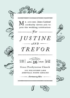 A classic botanical wedding invitation for the Fall bride looking for elegant wedding decor and stationery.