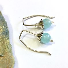 Aquamarine threader earrings - a spot of calm for your busiest days  •Sterling silver threaders with Swarovski crystals to catch the light •March birthstone •Also available as a set with aquamarine & moonstone bracelets - in a separate listing