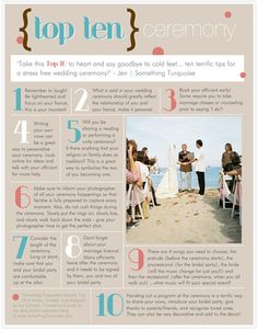 TOP 10 Tips for your wedding ceremony! Take this top 10 to heart and say goodbye to cold feet!