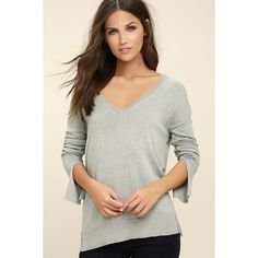 Sweet-Tempered Heather Grey V-Neck Sweater Top ($35) ❤ liked on Polyvore featuring tops, sweaters, grey, knit sweater, grey knit sweater, gray knit sweater, long sleeve sweater and gray sweaters