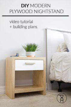 How build a modern plywood nightstand with a continuous grain waterfall edge using the Kreg Adaptive Cutting System Home Depot Plywood, Plywood Projects, Woodworking Projects, Diy Projects, Design Furniture, New Furniture, Furniture Projects, Plywood Furniture, Chair Design