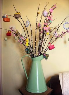 A beautiful Easter tree! We will be making one for the cafe later this week using vintage vases or jugs featured in an upcoming auction