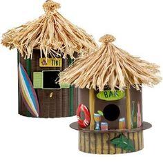Hawaiian Tropical TIKI BAR Birdhouse Bird House Surfboards Palm