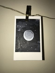 Items similar to Moon Polaroid Painting - Paintings By JClavet on Etsy Small Canvas Art, Mini Canvas Art, Aesthetic Painting, Aesthetic Art, Mirror Painting, Painting & Drawing, Moon Painting, Painting Inspiration, Art Inspo