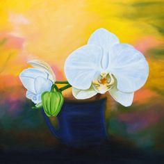 "For Sale: Orchid of the light  by Martha Seale   $400   24""w 24""h   Original Art   https://www.vangoart.co/marthasealeart/orchid-of-the-light @VangoArt"