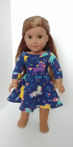 Excited to share the latest addition to my #etsy shop: Dress. 18 inch doll clothes. American girl doll. 18 inch doll clothing. Trendy unicorn Dress #toys #dollclothes #dresses #blue #pink #18inch #americangirl #dress #cotton http://etsy.me/2DMW39M