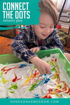 Teach colors and strengthen prewriting fine motor skills and muscles in your toddler and preschooler with this easy simple shaving cream connect the dots activity using just 3 simple supplies you already have at home. Kids Activities At Home, Preschool Learning Activities, Motor Activities, Sensory Activities, Infant Activities, Sensory Play, Free Activities, Toddler Fun, Toddler Preschool