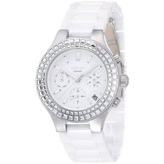 Dkny Women's NY2223 'Chambers' Chronograph White Ceramic Watch featuring polyvore, fashion, jewelry, watches, silver, white chronograph watch, water resistant watches, ceramic crowns, white ceramic watches and crown jewelry