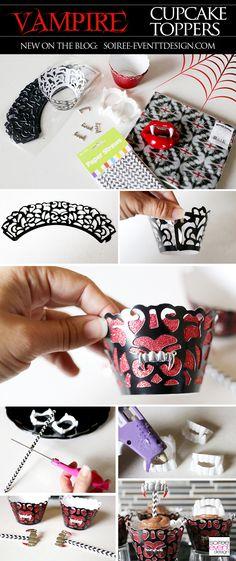| How To Make Halloween Vampire Cupcakes! | http://soiree-eventdesign.com