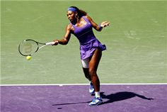 Serena Williams in action against Shuai Zhang of China during Day 4 of the Sony Ericsson Open at Crandon Park Tennis Center on March 22, 2012 in Key Biscayne, Florida