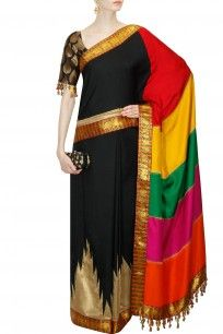 Black brocade saree with multicolour panelled pallu
