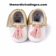 Infant Girl White Gold Fringe Pink Tassel Soft Faux Leather Crib Shoe Moccasins Mocs Pre Walker Boho Baby Shoes Baby Shower Christmas Gift Ideas