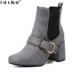 f708ab033aee Aliexpress.com   Buy LALA IKAI women ankle boots with metal Buckle Thick  med heeled Square Toe British style Chelsea shoes for ladies XWN1021 from  Reliable ...