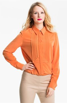 Vince Camuto Pleated Bib Shirt (Petite) available at #Nordstrom