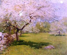 John Leslie Breck Apple Blossoms hand painted oil painting reproduction on canvas by artist Pastel Landscape, Spring Landscape, Landscape Art, Landscape Paintings, Mountain Paintings, Nature Paintings, Beautiful Paintings, Spring Painting, Oil Painting For Sale