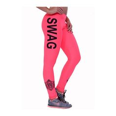 Letter Print Neon Pink Mid Waist Leggings ($16) ❤ liked on Polyvore featuring pants, leggings, pink, pink pants, patterned trousers, print leggings, neon pink pants and patterned leggings