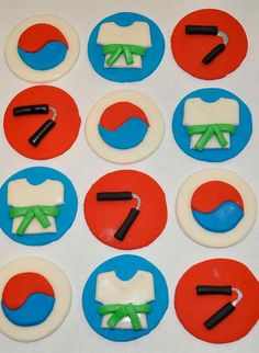 Items similar to Tae Kwon Do Inspired Fondant Toppers for Cupcakes, Cakes, Cookies or Brownies- Edible- 1 DOZEN on Etsy Fondant Toppers, Fondant Cupcakes, Fondant Molds, Baking Cupcakes, Cupcake Cakes, Cupcake Toppers, Karate Cake, Karate Party, Taekwondo Kids