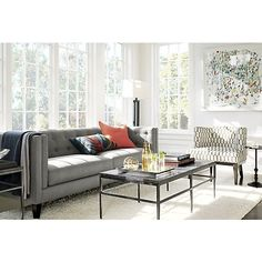 Memphis White Rug in 15% off Rugs | Crate and Barrel Big Shag rug for the middle of living room? I think yes!