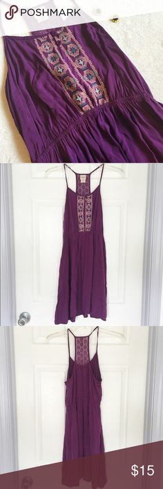 Boho Indie Bohemian Short Purple Dress by Mossimo 🌸 Purple boho dress by Mossimo   🌸 Has two buttons and embroidered green and peach designs on the front and a crochet lace design on the back  🌸 Has an elastic waist  🌸 Has unadjustable spaghetti straps   🌸 100% Rayon  🌸 Size small Mossimo Supply Co. Dresses Mini