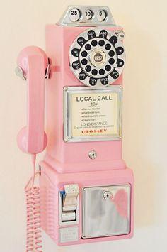 Pink Crosley vintage phone, this would tickle my kids pink!