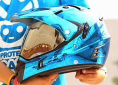 MASEI 311 CHROME BLUE PINK ATV MOTOCROSS OFF-ROAD DIRTBIKE KTM ARAI SHOEI HELMET